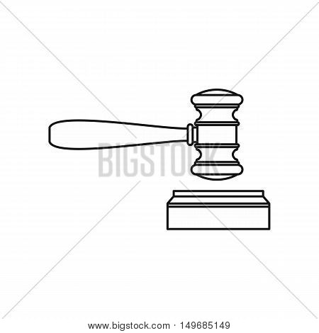 Wooden judge gavel and soundboard icon in outline style isolated on white background vector illustration