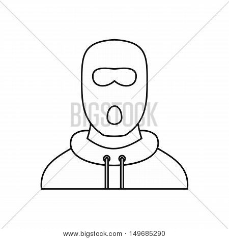 Man in balaclava mask icon in outline style isolated on white background vector illustration