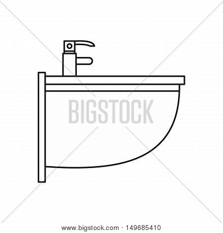 Bathroom sink icon in outline style isolated on white background vector illustration