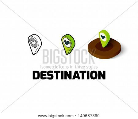 Destination icon, vector symbol in flat, outline and isometric style