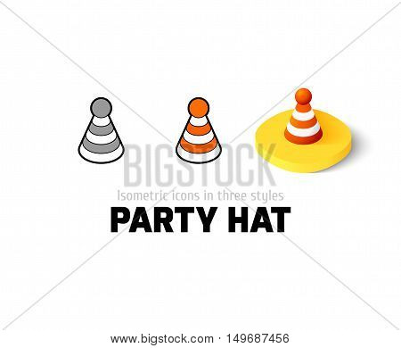 Party hat icon, vector symbol in flat, outline and isometric style