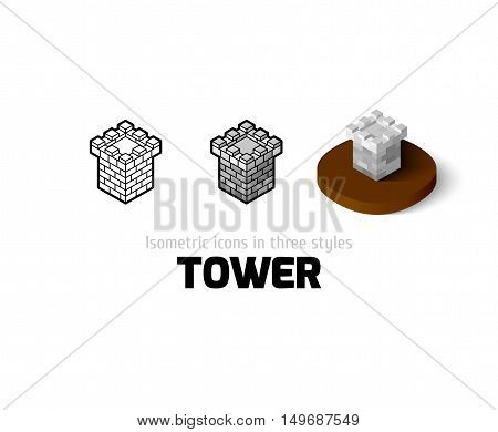 Tower icon, vector symbol in flat, outline and isometric style