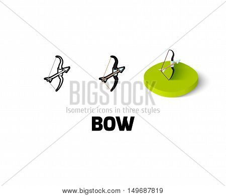 Bow icon, vector symbol in flat, outline and isometric style