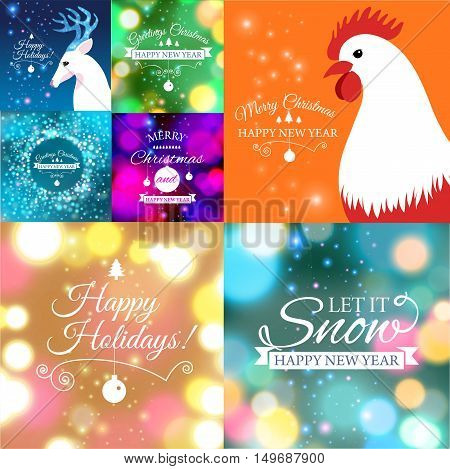 Vector illustration of Set of Merry Christmas postcard with designed text.