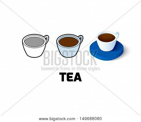 Tea icon, vector symbol in flat, outline and isometric style