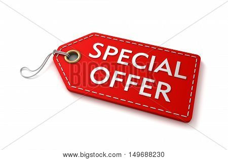 special offer shopping tag concept 3d illustration isolated on white background
