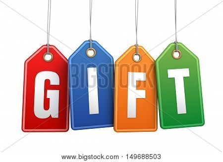 gift shopping tag concept 3d illustration isolated on white background