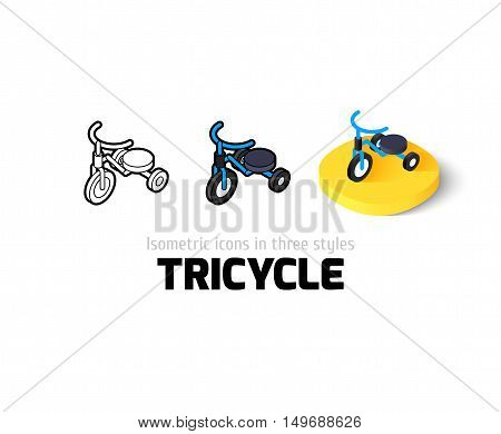 Tricycle icon, vector symbol in flat, outline and isometric style
