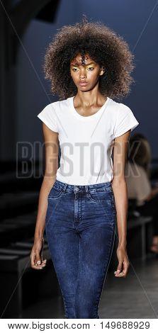 New York NY USA - September 11 2016: Models walk runway rehearsal for the Custo Barcelona women's & men's Spring/Summer 2017 runway show during New York Fashion Week SS 2017 at Pier 59 Studios at Chelsea Piers Manhattan