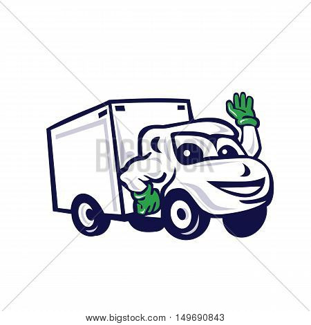 Illustration of a closed delivery van truck waving viewed from front set on isolated white background done in cartoon style.