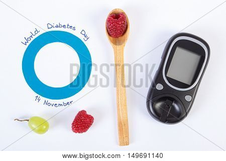 Glucometer, Symbol Of World Diabetes Day And Fresh Fruits On White Background