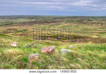 Scenic Grasslands National Park in Saskatchewan Canada