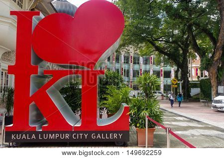 KUALA LUMPUR MALAYSIA -NOV. 16. 2016: The Icon in front of The giant I LOVE KL is a must photo-stop in the city.
