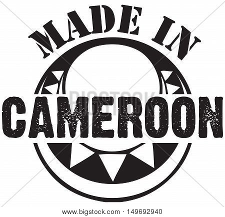Decorative stamp Made in Cameroon. Vector illustration.