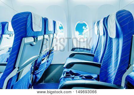 No passengers' planes, empty seats and windows.