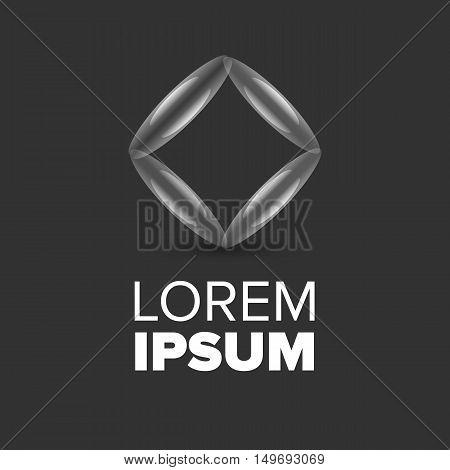 Liquid Rhombus futuristic logo on a black background
