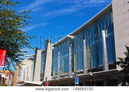 WASHINGTON DC USA - SEPTEMBER 22: Facade of The Walter E. Washington Convention Center in Washington DC on September 22 2016. The center hosted inauguration balls international conferences and other memorable events.