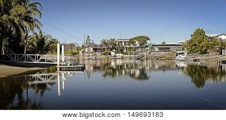 Gold Coast canal on a clear morning.