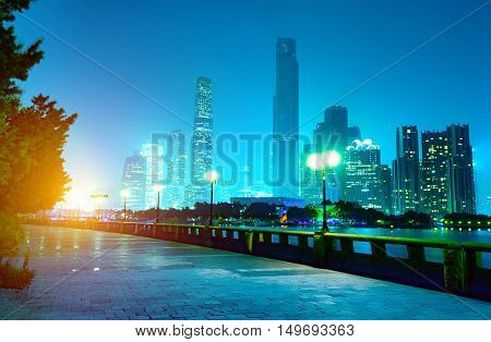 Big city skyscrapers, night view of Pearl River New City, Guangzhou, China