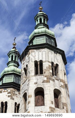 11th century Church of St. Andrew on a background of blue sky Old Town Krakow Poland