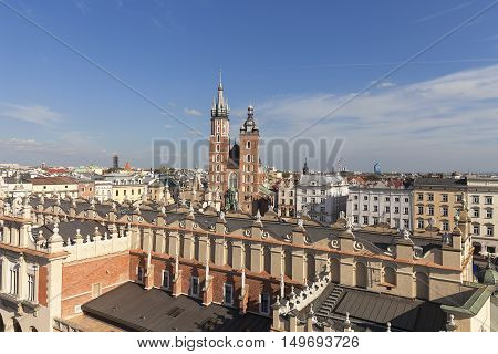 Aerial view of the Main Market Square with St. Mary's Basilica Old Town Krakow Poland