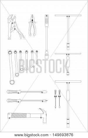 Set of repair construction tools in the flat style equipment in a concept vector illustration.