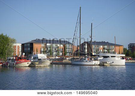 LAPPEENRANTA, FINLAND - AUGUST 09, 2015: August morning in the port of Lappeenranta. Tourist landmark of the city Lappeenranta, Finland