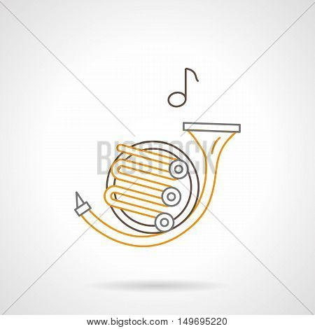 French horn and one music note. Orchestra melody symbol. Brass musical instrument tenor register. Black and yellow flat line vector icon.