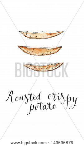 Roasted crispy potato wedges hand drawn - watercolor Illustration