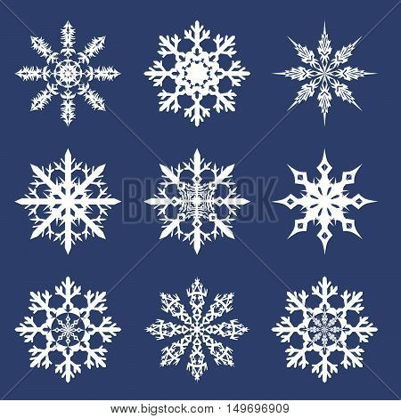 vector illustration of a set of New Year's snowflakes on a dark background