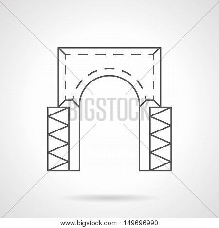 Rectangular arch with decorative columns. Architectural elements for facade, entrance, doorway, gateway and other. Black flat line vector icon.
