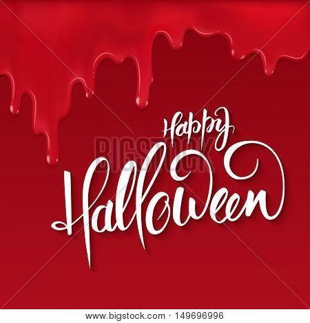 vector halloween lettering greetings label - happy halloween - on red bloody drips.