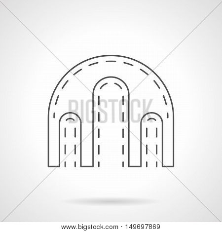 Symbol of triple-arched gateway. Decorative elements for architecture objects, buildings, construction. Black flat line vector icon.