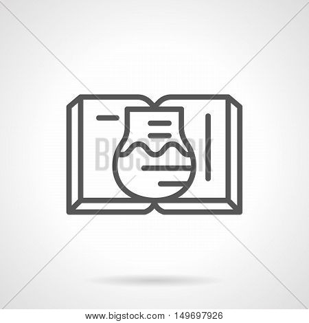 Education, research and experiments symbol. Open book and chemical flask with liquid. Textbook for chemistry, pharmacy, medicine. Black flat line vector icon.