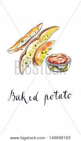 Baked potatoes with tomato ketchup hand drawn - watercolor Illustration
