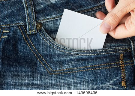 Piece of paper in blue jeans pocket