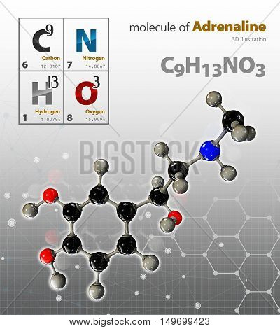 Illustration Of Adrenaline Molecule Isolated Grey Background