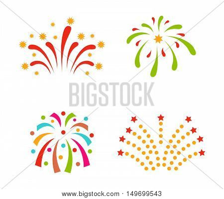 Festive firework bursting shape firework pictograms isolated. Firework abstract vector isolated illustration and party fun firework celebration holiday vector sign. Firework show isolated