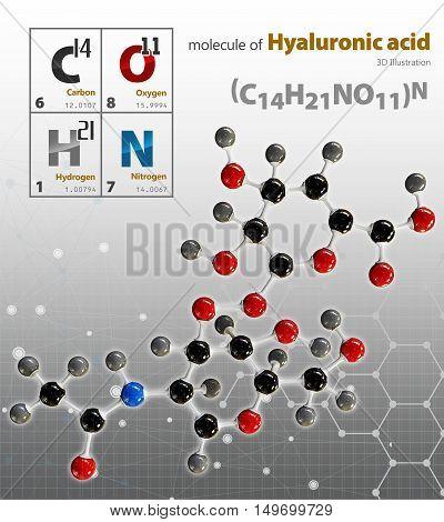 Illustration Of Hyaluronic Acid Molecule Isolated Grey Background