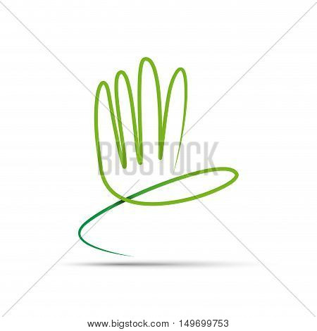 Vector sign abstract hand , friendly environment concept