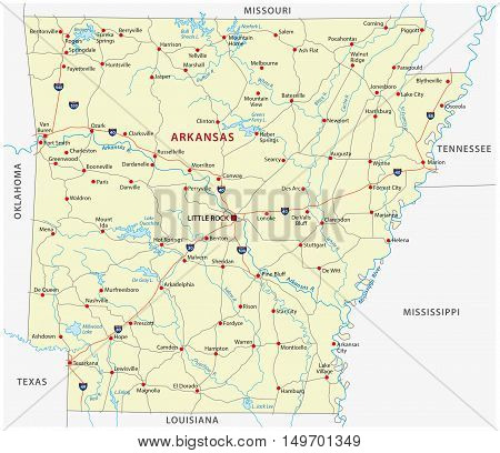 street map of the US state arkansas