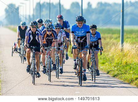 Noord Holland the Netherlands - September 13 2016: seniors on road racing bikes