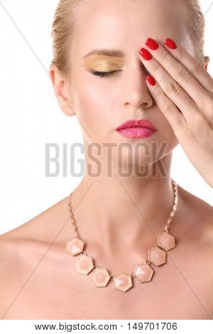 Portrait of stylish woman with beautiful necklace, closeup