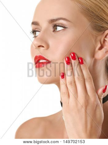 Portrait of woman with beautiful makeup on white background