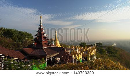 Landscape to Mandalay from hill at sunset Myanmar
