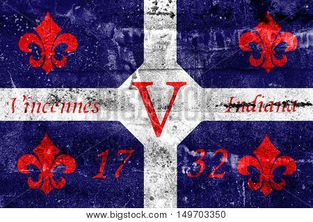 Flag Of Vincennes, Indiana, Usa, Painted On Dirty Wall