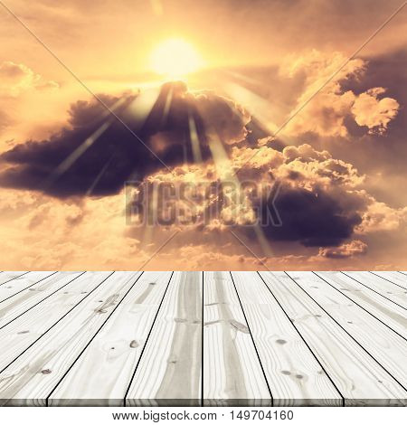 Abstract Background. Wood Table Top On Golden Sky