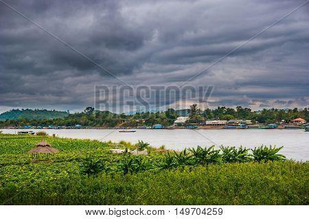 View of The Mae khong river in Chiangsaen, Chiangrai in Thailand