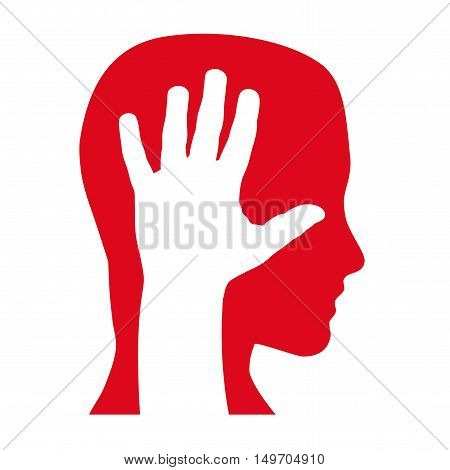 Vector sign hand and head caress a person