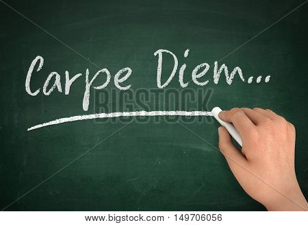 carpe diem chalkboard hand write 3d illustration